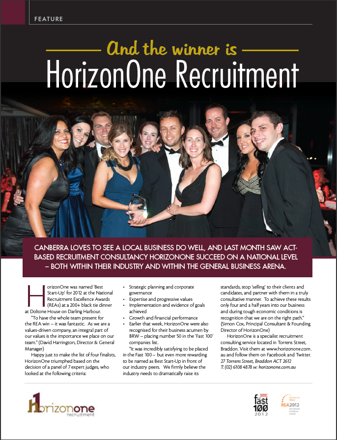 BestStart-Up at the National Recruitment Excellence Awards.